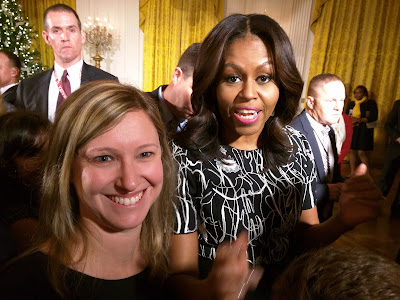 Elissa Miller with First Lady Michelle Obama at the White House Hanukkah Party