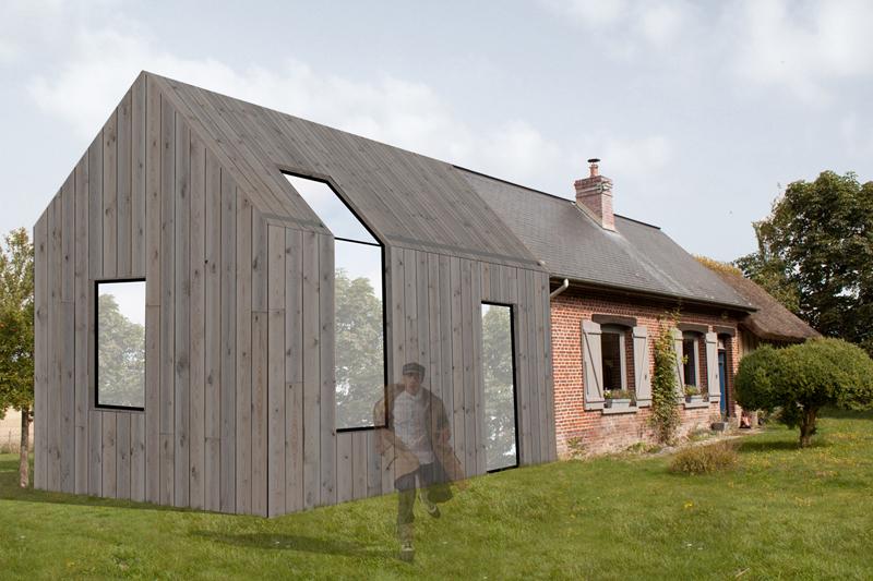 pierre kowalski esquisse pour une extension de maison individuelle en normandie. Black Bedroom Furniture Sets. Home Design Ideas