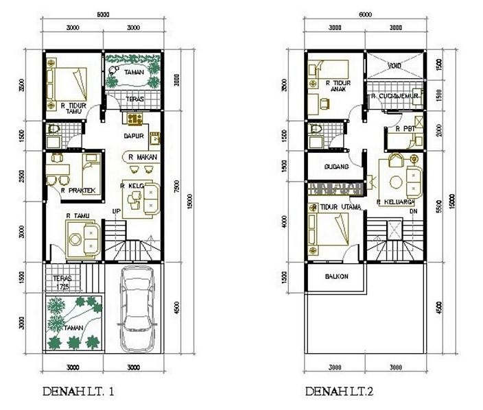 denah rumah 6x10m2 3 kamar modern