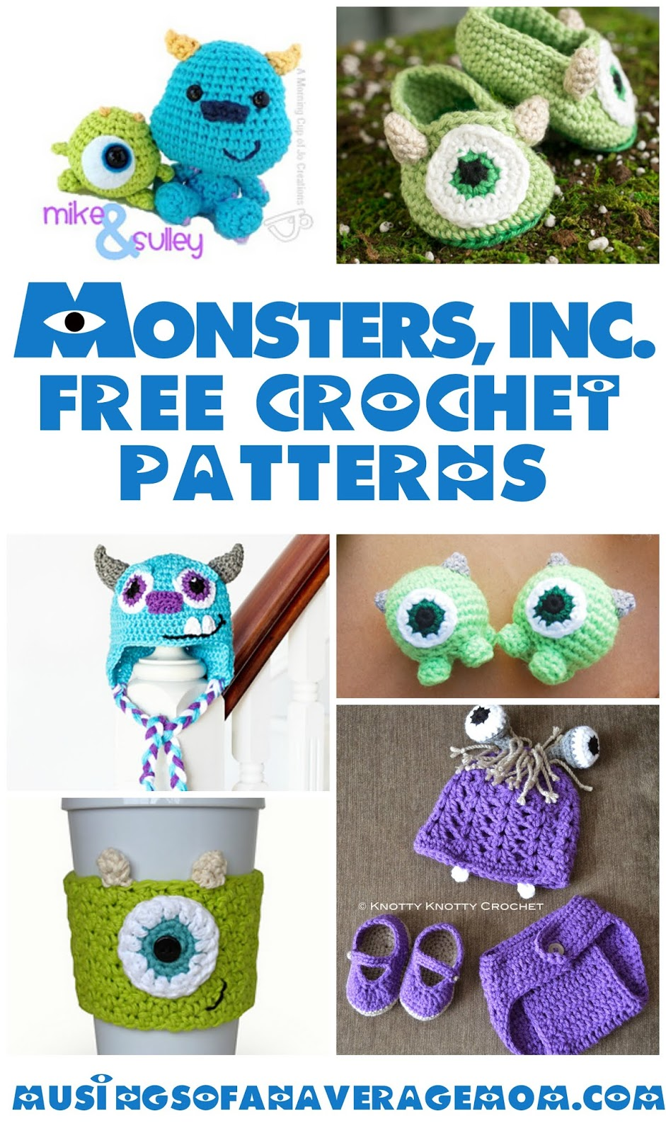 Ten Free Crochet Monster Patterns | Shiny Happy World | 1600x941