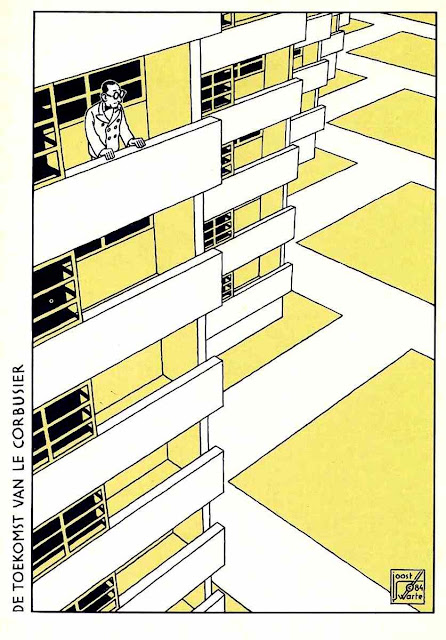 A Joost Swarte illustration of architect Le Corbusier