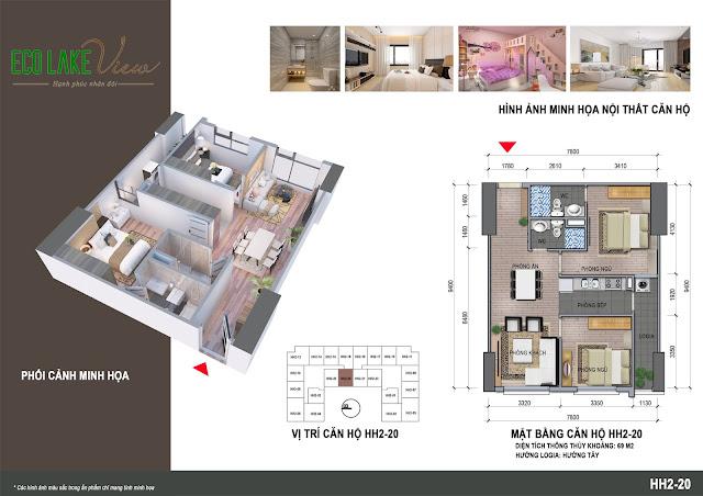 Thiết kế căn hộ C1B - 20 tòa HH2 ECO LAkE VIEW