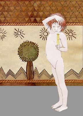tejido , niña . figura en hueso edad del cobre