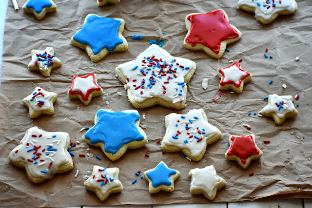 star shaped gluten fee sugar cookies decorated red white and blue