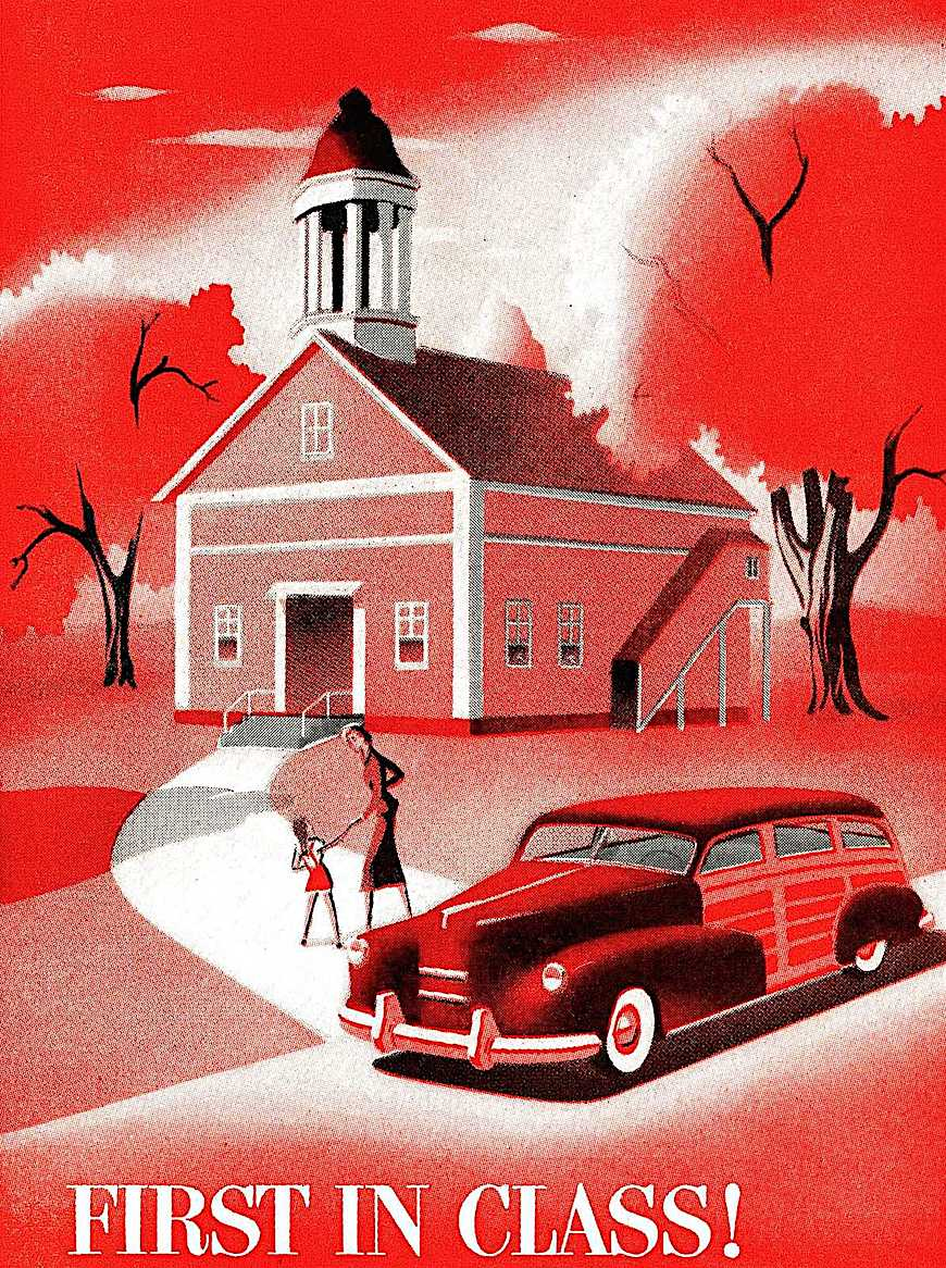"a 1940s car illustration in red  ""First in Class!"""