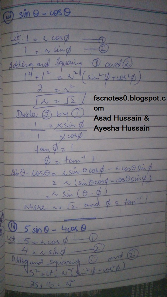 FSc ICS FA Notes Math Part 1 Chapter 10 Trigonometric Identities Exercise 10.2 Question 14 Written by Asad Hussain & Ayesha Hussain 2