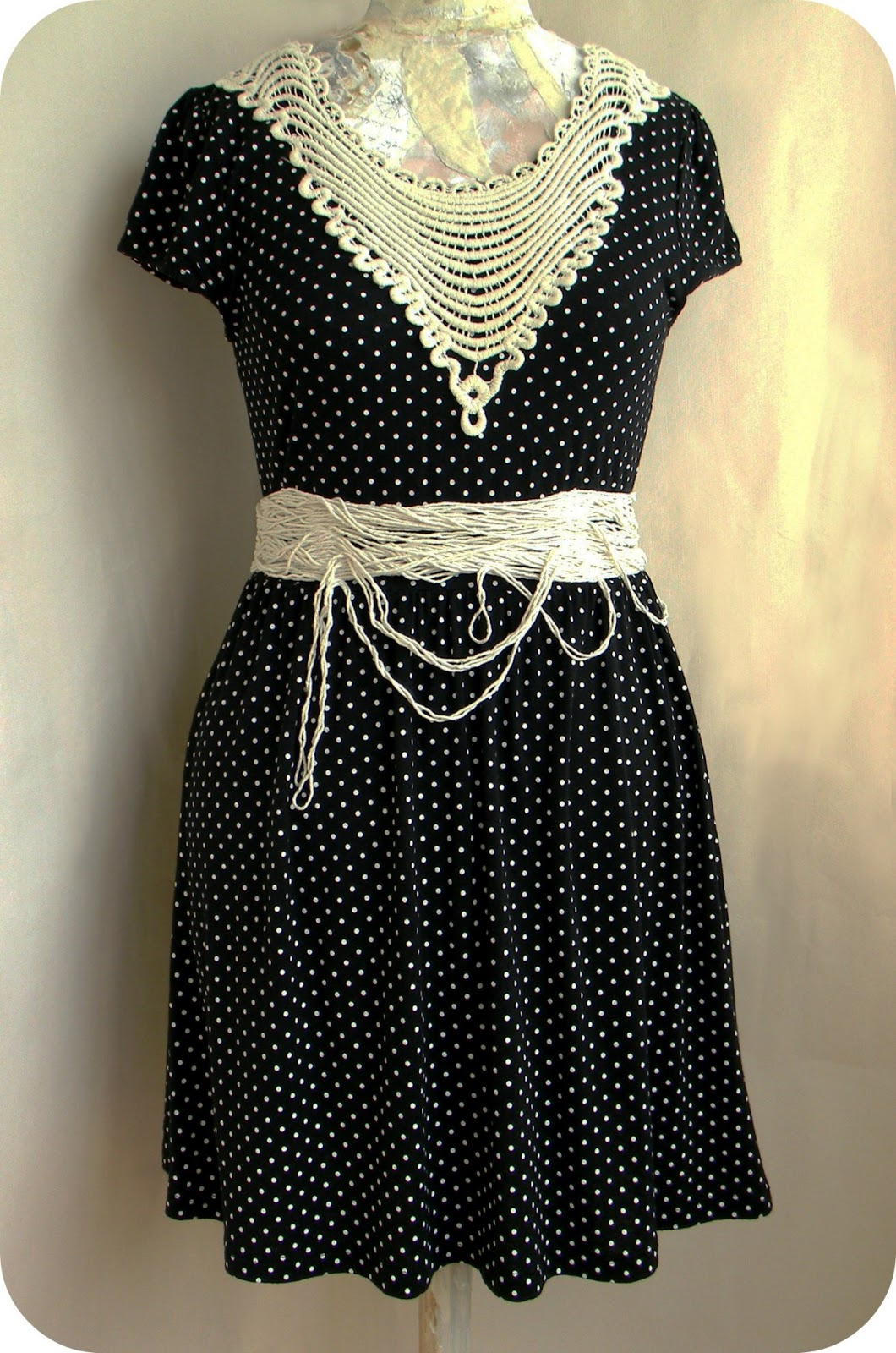 Unique fashion Retro Dress Polka Dots Handcrafted Clothing Design