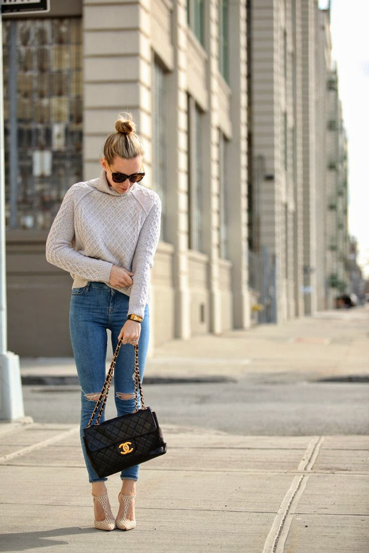 Brooklyn Blonde knit vintage Chanel Bag Topshop Ripped Jeans