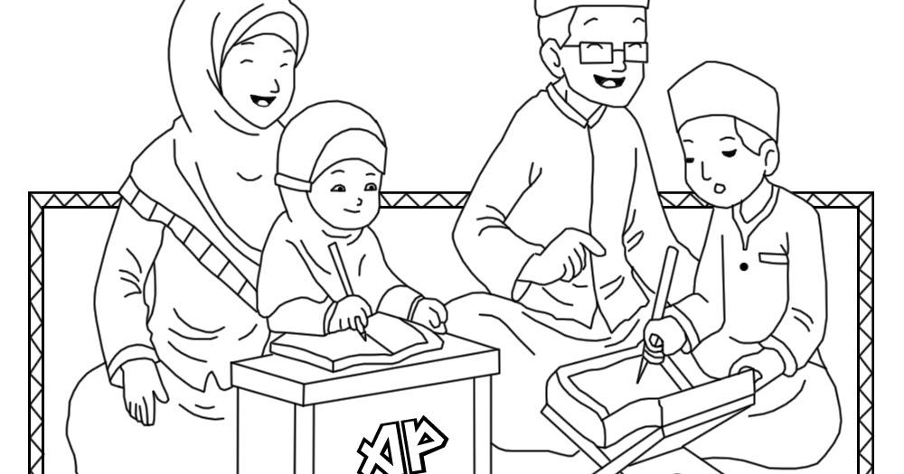 54 Gambar Sketsa Kartun Keluarga Besar Muslim Gudangsket