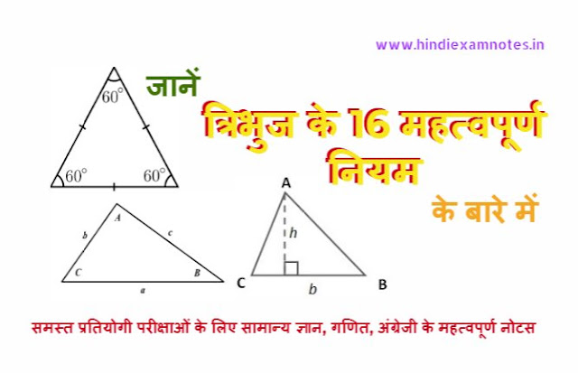 16 Important Rules of Triangle in Hindi