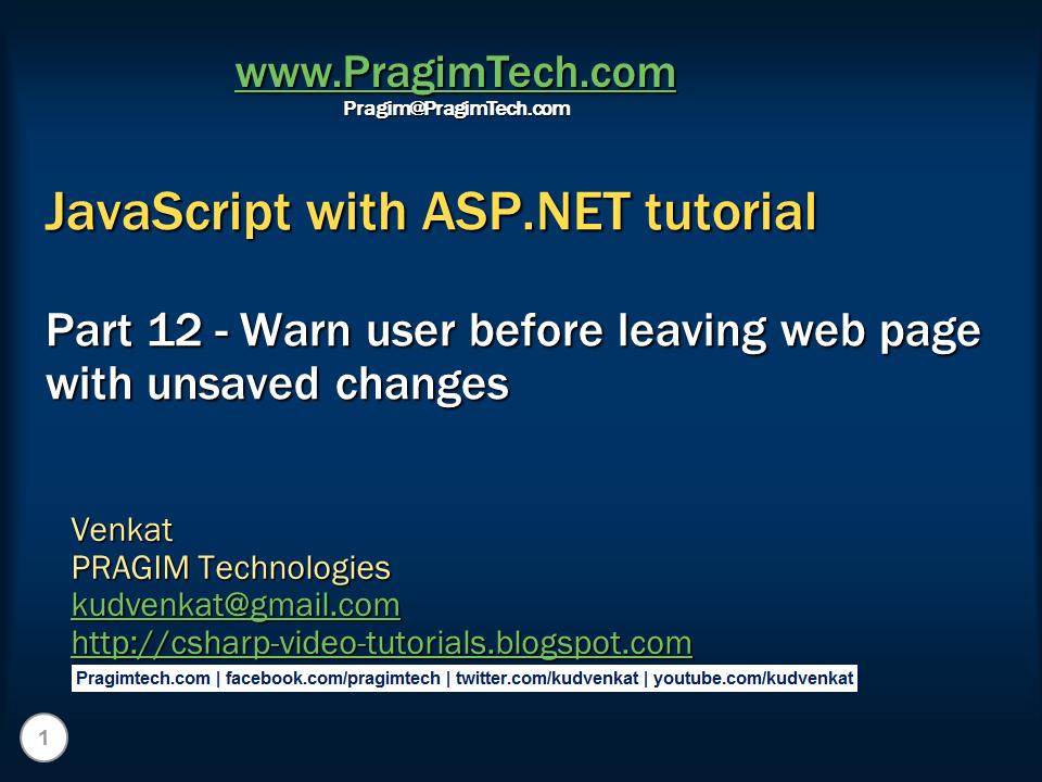 Sql server,  net and c# video tutorial: Warn user before