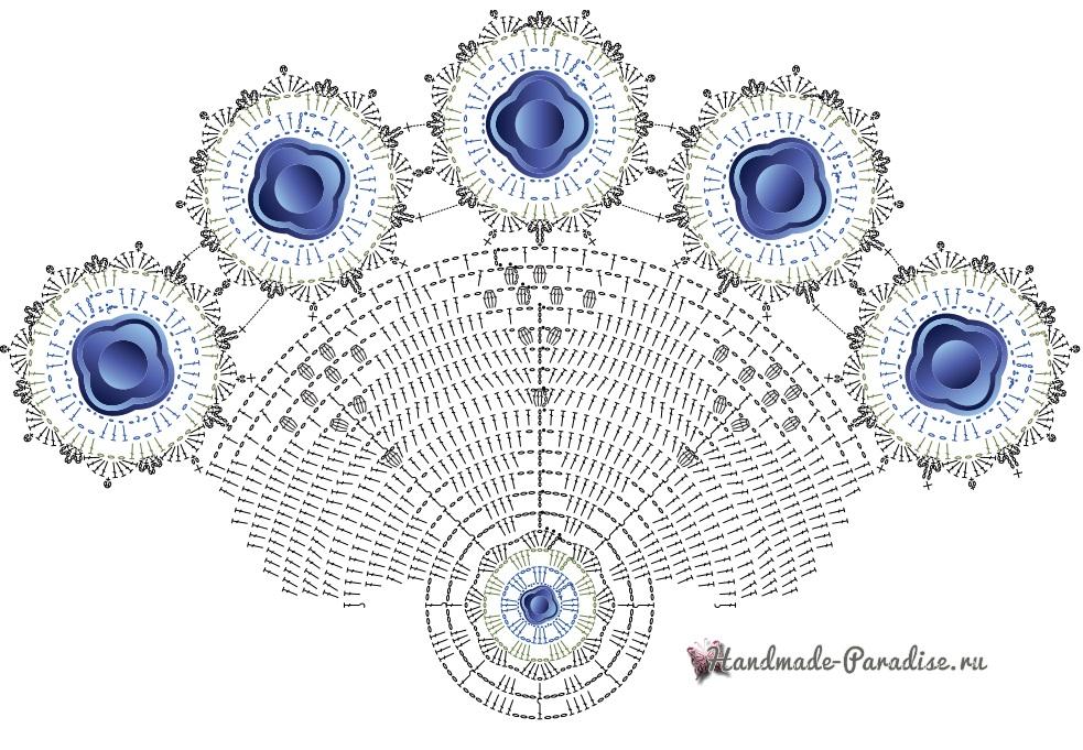 Белая салфетка крючком с голубыми цветами (4)