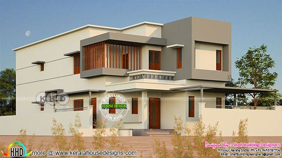 Sober colored 2002 square feet box model house rendering