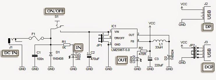 usb car charger circuit diagram: