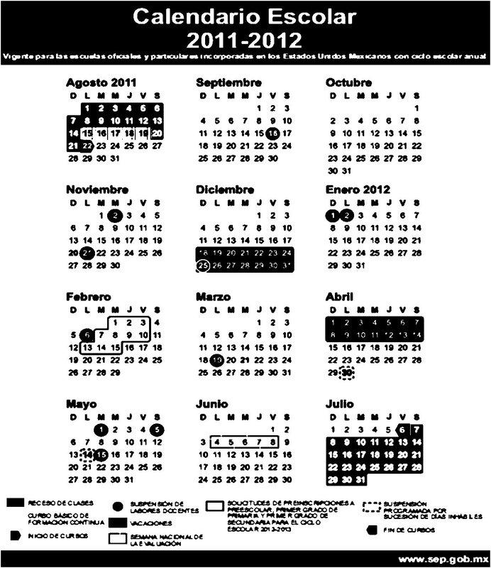 Telesecundaria Papantla: CALENDARIO ESCOLAR 2011-2012