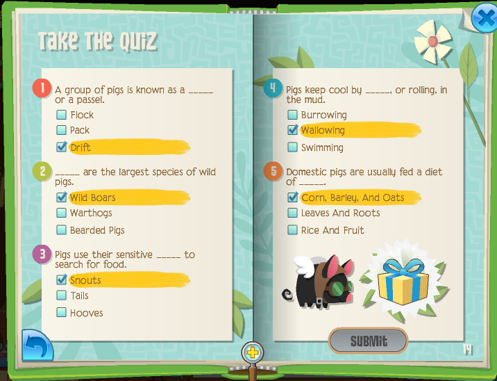 Image of: Jamaa If You Correctly Answer All Five Questions You Will Be Rewarded With Holographic Pig Trophy For Your Den 3 Ua Ua The Animal Jam Whip Pig Minibook Quiz Cheats