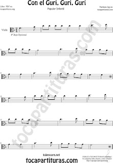 Viola Sheet Music for Con el Guri Guri Guri Children Music Scores