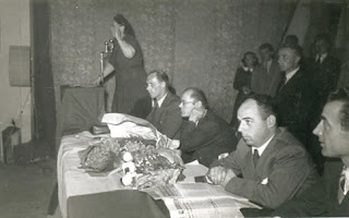 Noce addressing a meeting of textile workers in 1948