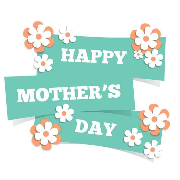 Card for mothers day with flowers Free Vector