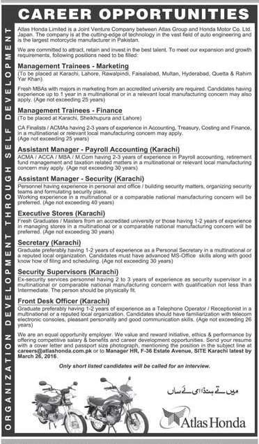 Management Trainees Jobs in Atlas Honda Limited MTO Jobs for Masters & Graduates