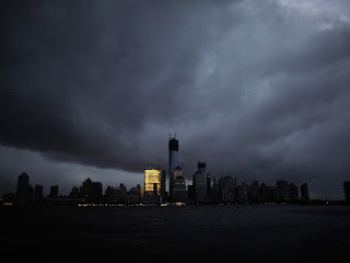 After Superstorm Sandy hit New York City in October 2012, the city's famous skyline was mostly dark. (Photo Credit: Reuters/Eduardo Munoz) Click to Enlarge.