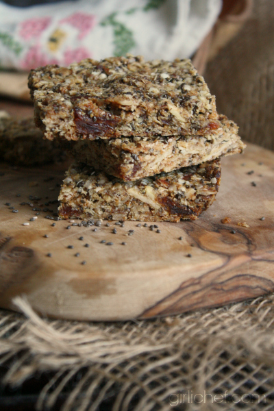 Apricot-Almond-Chia Granola Bars + 32 more Chia Seed Recipes at www.girlichef.com