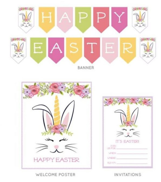 Unicorn Easter Bunny Kit for Free Printable.