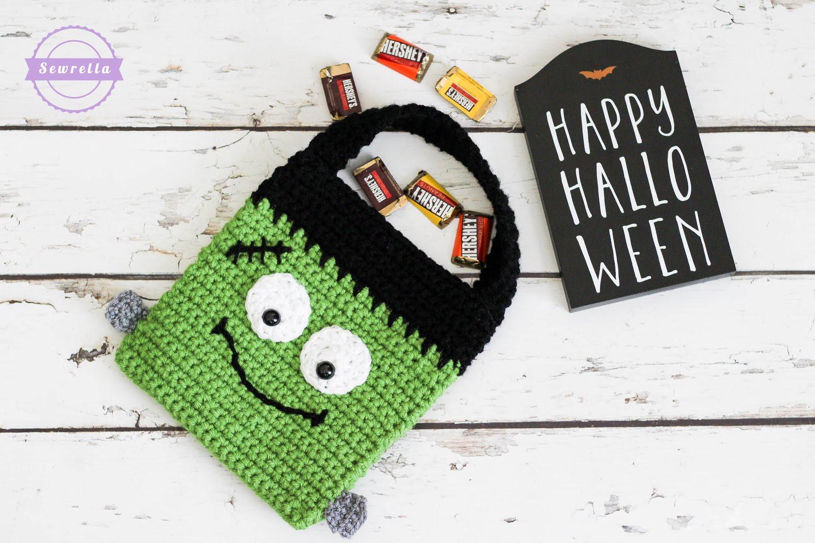 Crochet Frankenstein Trick Or Treat Bag Sewrella