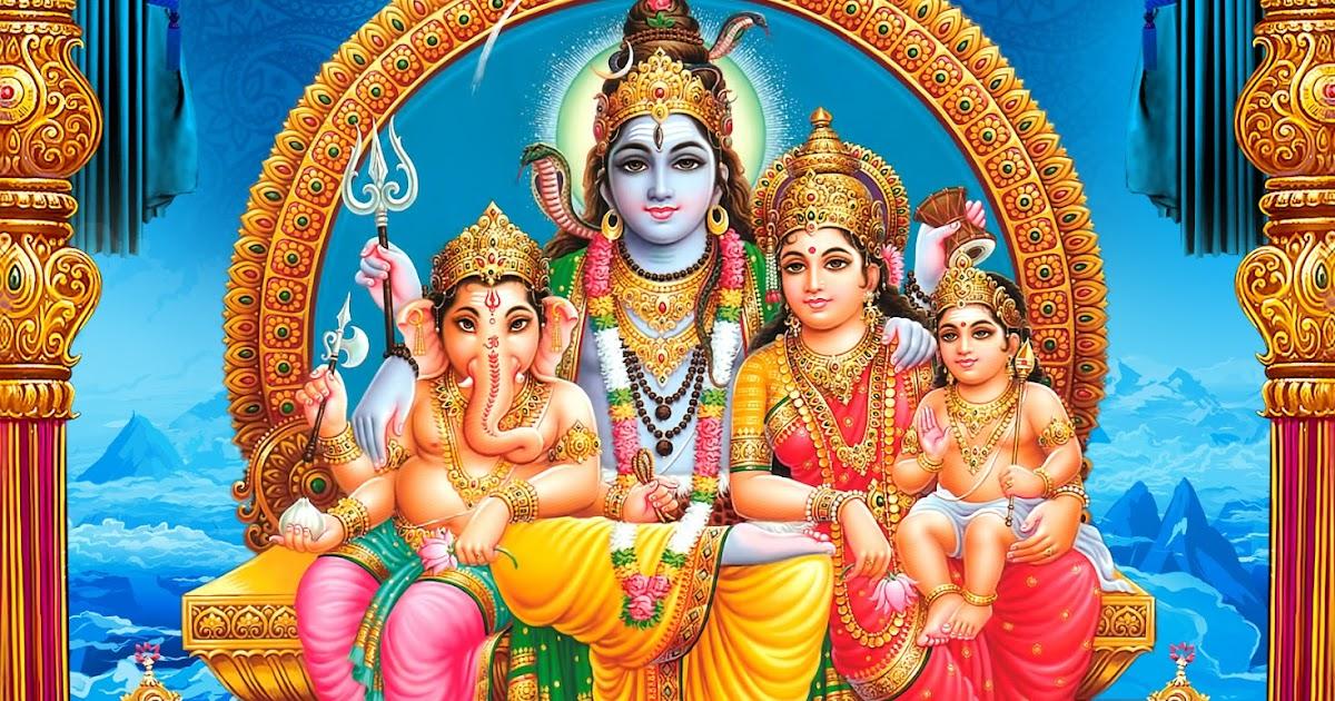 Lord Shiva Parvathi Ganesha Kartikeya Sitting Hd Wallpaper
