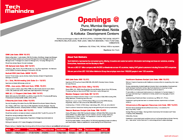 Tech Mahindra Excelent Walk-In Drive for Freshers/Any Graduates