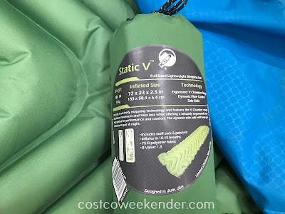 Costco 646193 - Klymit Static V Full-Sized Lightweight Sleeping Pad: great for camping and backpacking