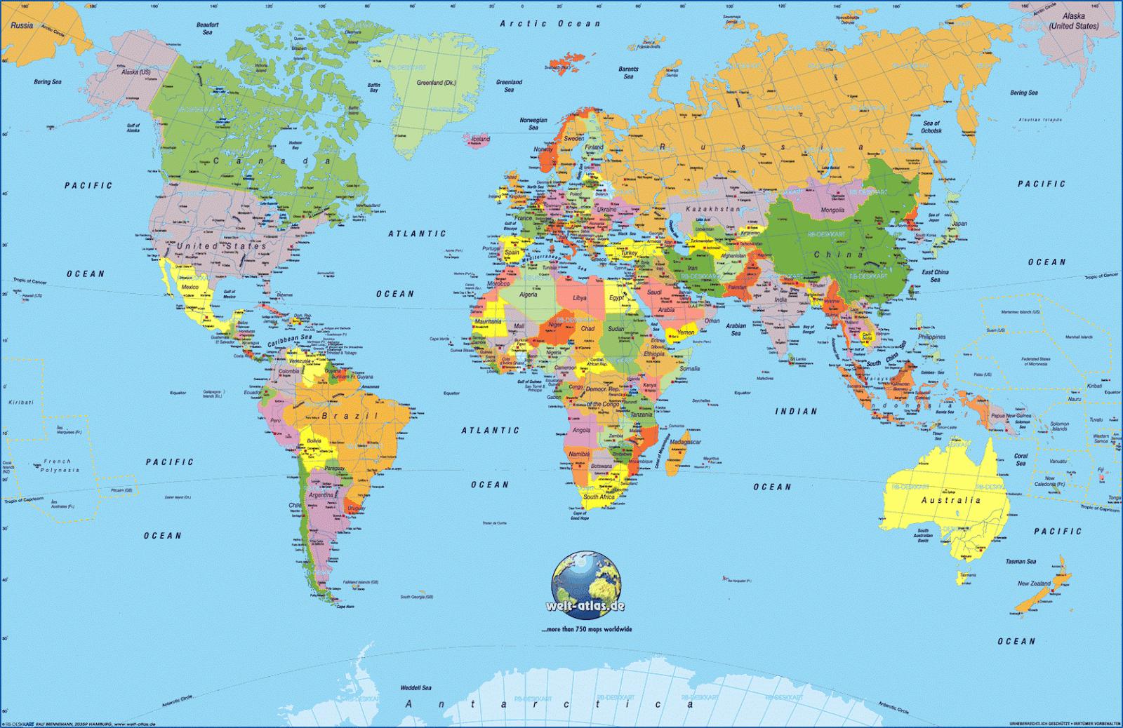 خريطة العالم World Map مجلة رحالة