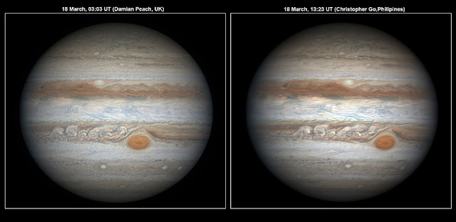 Scientists expect to characterize the state of Jupiter's atmosphere from high-resolution observations obtained by amateur astronomers. By comparing images of Jupiter obtained from different locations on Earth over time, they can observe the same areas of the planet repeatedly and obtain information such as the intensity of the winds and the activity of storms in the planet. The image on the left was obtained using a 40 cm diameter telescope and a fast black and white camera equipped with colour filters by Damian Peach during a trip to Barbados. The image on the right was obtained by Christopher Go from the Philippines using similar equipment. Credit: D. Peach/C. Go