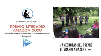 Banner de la semana 11 del seguimiento del Premio Literario Amazon en la que explico algunas anécdotas del premio entre las que se encuentra una reunión de escritores debajo de un árbol como nuestra la imagen