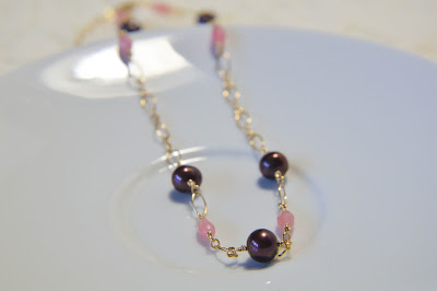 Chocolate brown off round potato pearl with rose pink agate crystal on gold chain handmade