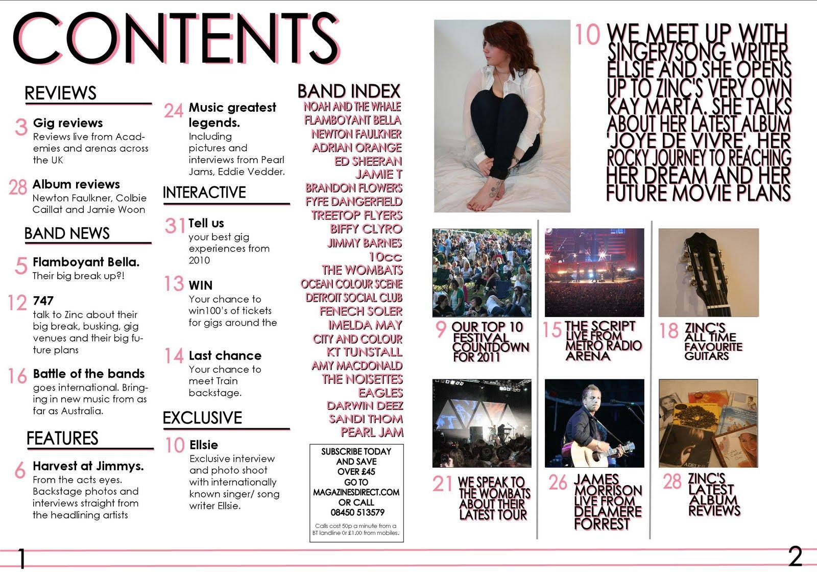 G321Morris: Music Magazine Contents Page Production