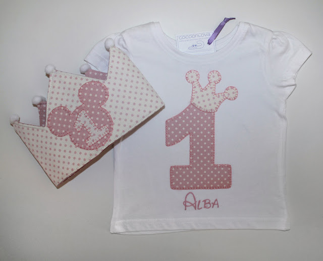 conjunto de cumpleaños camiseta y corona 1 año