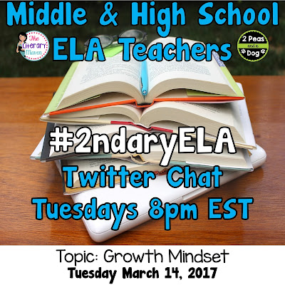 Join secondary English Language Arts teachers Tuesday evenings at 8 pm EST on Twitter. This week's chat will be about implementing a growth mindset in the classroom.
