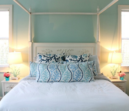 Turquoise Wall in Bedroom with White Poster Bed