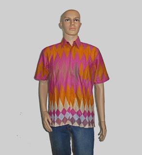 Baju Batik Pria, Hem Batik Rangrang [H880] Merah