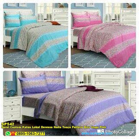 Sprei Custom Katun Lokal Dewasa Naila Tosca Pattern Biru Ungu Pink