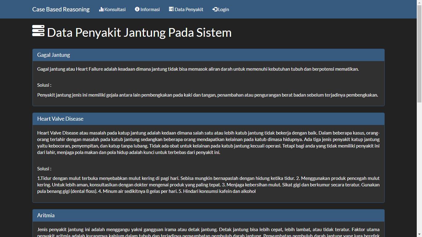 Aplikasi Sistem Pakar Berbasis Web Menggunakan Metode Case Based Reasoning (CBR) - SourceCodeKu.com