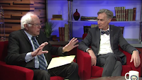 Sen. Bernie Sanders (I-Vt.) asks Bill Nye questions about climate change during a Facebook Live interview Monday. (Credit: Facebook) Click to Enlarge.