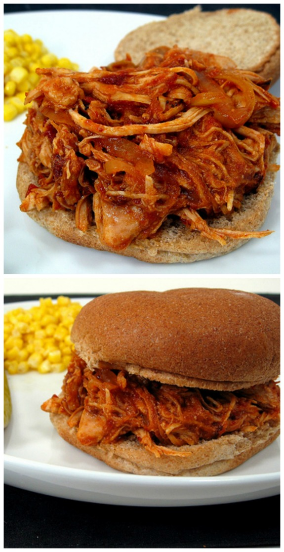 Slow Cooker Pulled Chicken with Chipotle Barbecue Sauce from Elly Says ...