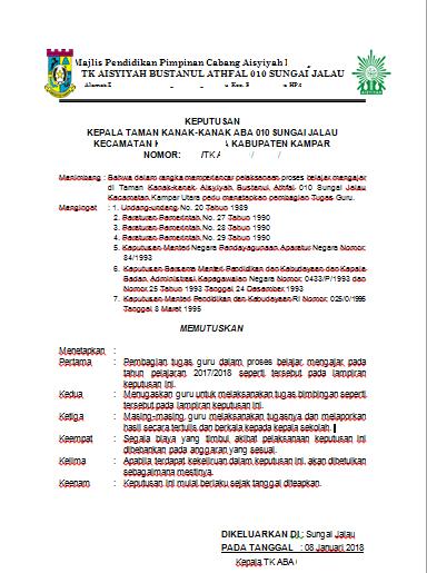 Contoh Format Surat Pembagian Tugas Tk Secercah Ilmu