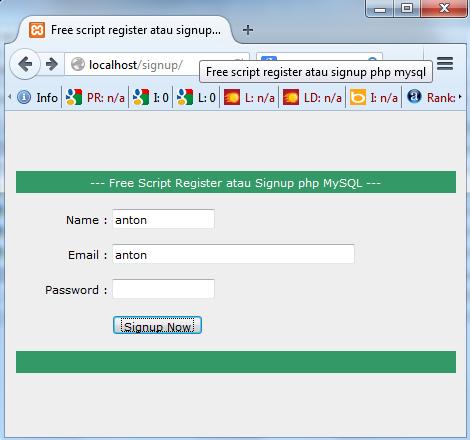 free script register atau signup php mysql