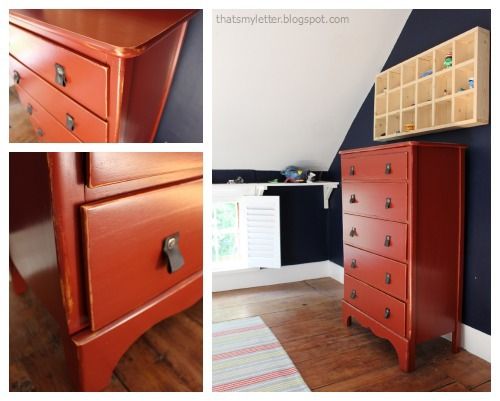 painted dresser with leather pulls collage