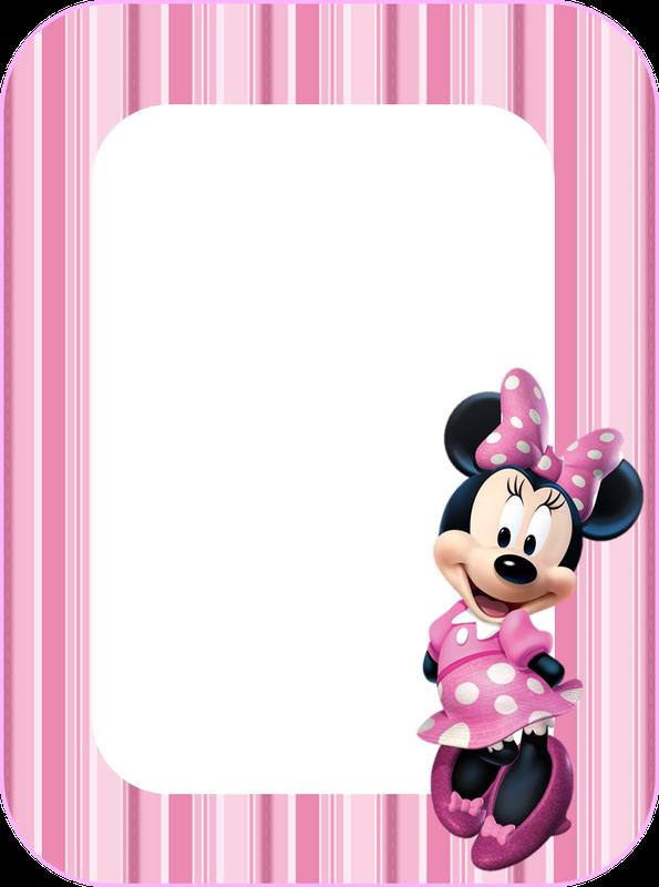 Para hacer invitaciones, tarjetas, marcos de fotos o etiquetas, para imprimir gratis de Minnie Rosa .