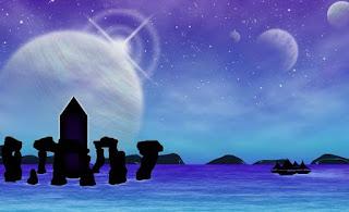 Bleu, Mar, Planètes, Fantasy, Surréaliste, Silhouette