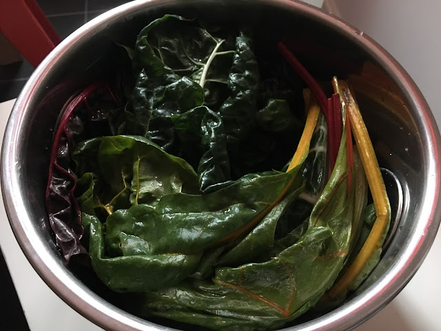 Instant Pot Pressure Cooker Paprika Chard and Potatoes recipe by Feisty Tapas. Step 1 b: Chard on top of the potatoes and the trivet